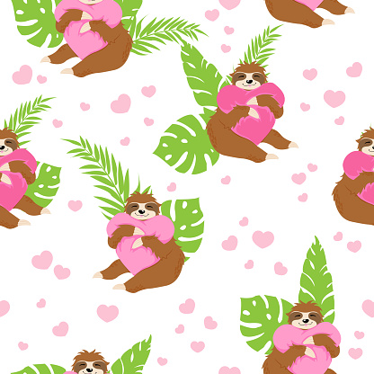 Cute sloths bears huging pink hearts pillow on white background with green tropical leaves and hearts in cartoons style. Vector seamless pattern with little sloth. Print for St. Valentines Day