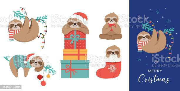 Cute sloths funny christmas illustrations with santa claus costumes vector id1034220334?b=1&k=6&m=1034220334&s=612x612&h=7hyekaoindgew70 j8mbgivmitfqf5huay7ihjkm5b4=