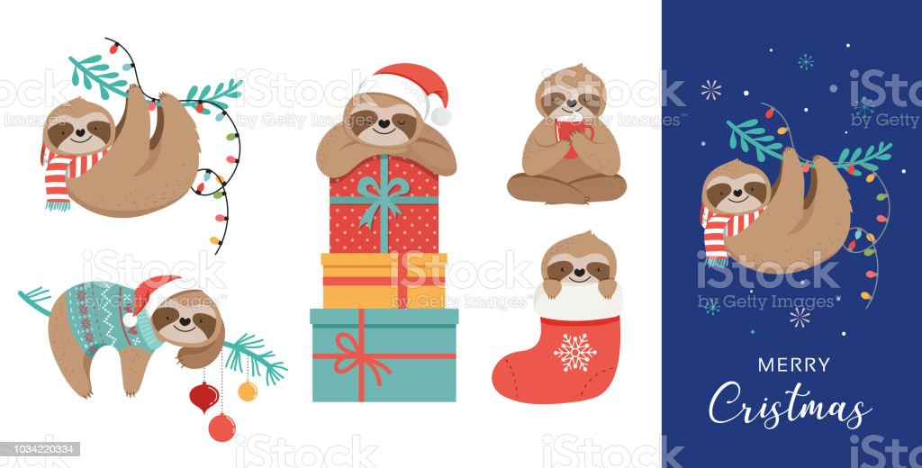 Cute sloths, funny Christmas illustrations with Santa Claus costumes, hat and scarfs, greeting cards set, banner vector art illustration