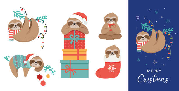 Cute sloths, funny Christmas illustrations with Santa Claus costumes, hat and scarfs, greeting cards set, banner Cute sloths, funny Christmas illustrations with Santa Claus costumes, hat and scarfs, greeting cards set - stock vector banner santa hat illustrations stock illustrations