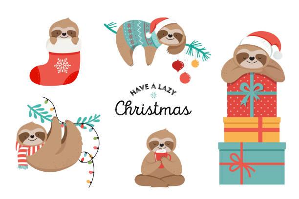 niedliche faultiere, lustige weihnachten illustrationen mit weihnachtsmann kostüme, hut und schals, grußkarten, banner - faul ast stock-grafiken, -clipart, -cartoons und -symbole
