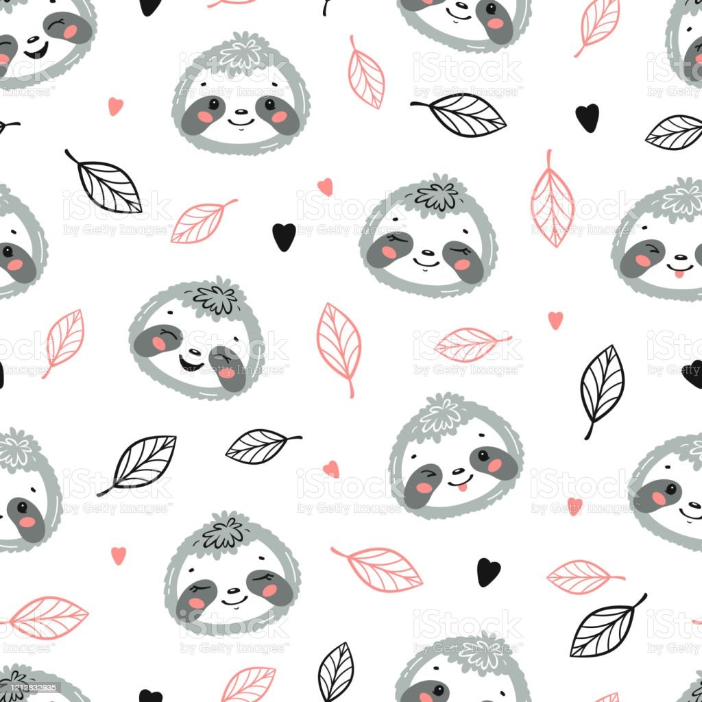 Cute Sloths Little Baby Sloth Face And Tropical Leaves Floral Seamless Pattern Kawaii Animal Heads Vector Childish Background For Kids Fashion Design Print For Nursery Wallpaper Baby Shower Stock Illustration Download