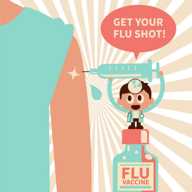 Cute small doctor wearing concave mirror and stethoscope injecting Flu Vaccine into people's arm, the flu season concept vector art illustration