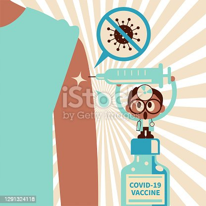 istock Cute small doctor wearing concave mirror and stethoscope injecting COVID-19 Vaccine into giant people's arm 1291324118