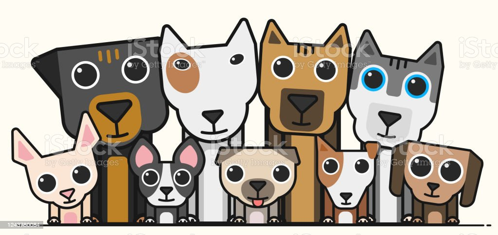 Cute Small Dogs With Big Dogs Icons Stock Illustration Download Image Now Istock