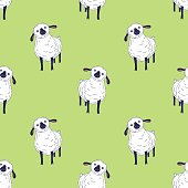 Cute small sheep illustration - seamless pattern, kawaii style farm animals sketch. Hand drawn minimalistic ink drawing with group of baby lamb.