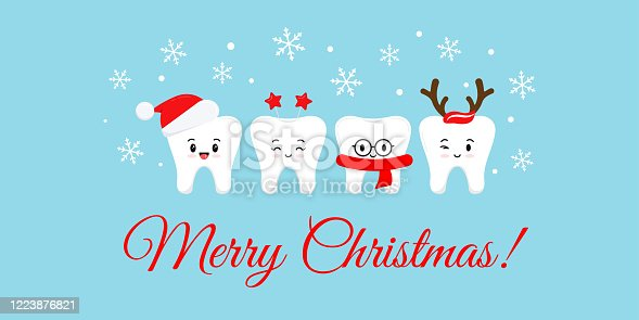 istock Cute smile teeth with xmas accessories on Merry Christmas dentist greeting card. 1223876821