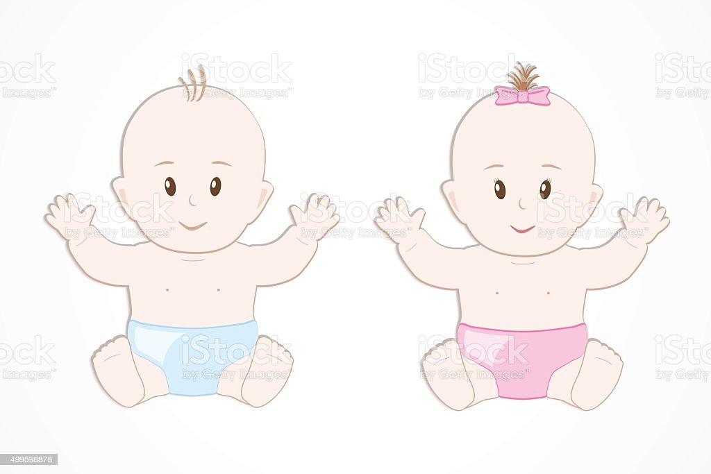 Linda Sonriente Bebé Camas Gemelas Niño Y Niña En Pañales Vector De ...