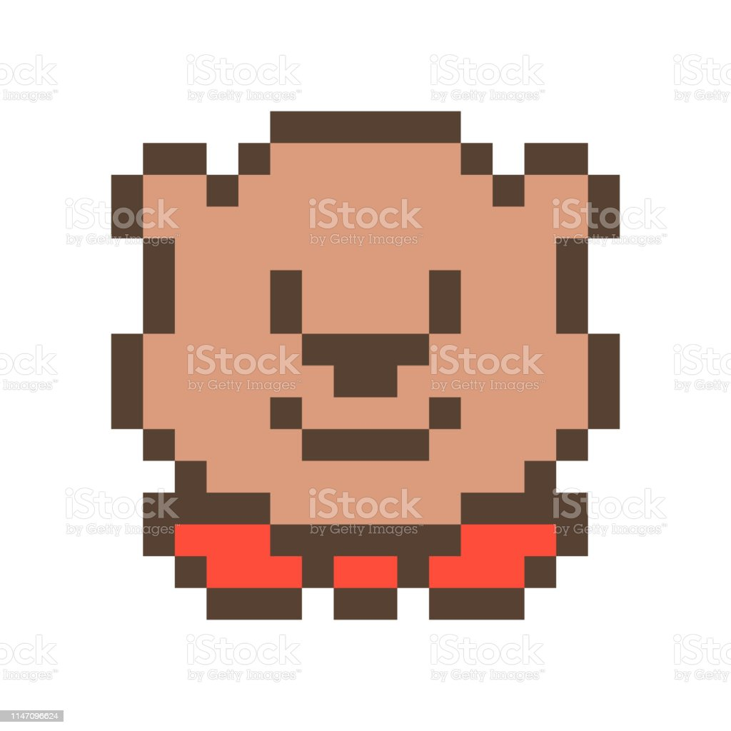 Cute Smiling Bear Muzzle16x16 Pixel Art Icon Isolated On