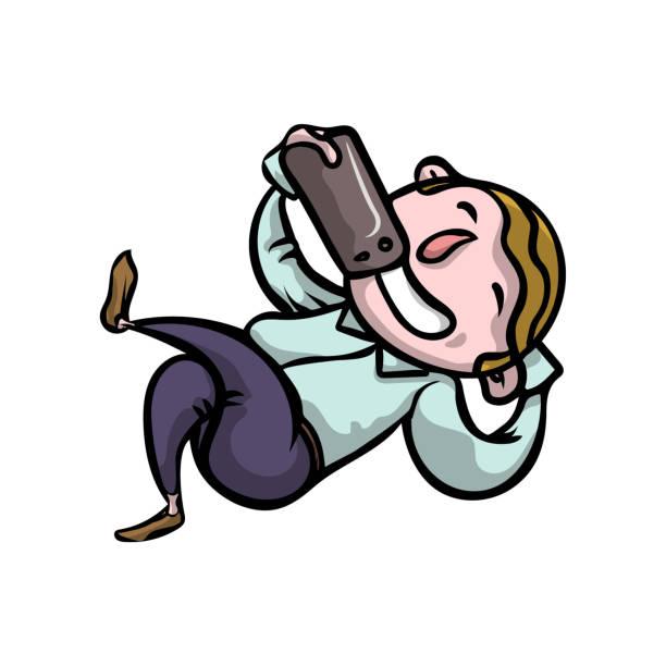 bildbanksillustrationer, clip art samt tecknat material och ikoner med söt leende blond pojke låg på golvet och göra selfie - beautiful floor