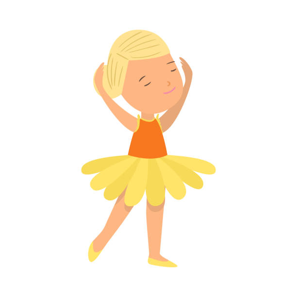 Cute smiling blonde hair girl in ballet yellow clothes Cute smiling blonde hair girl in ballet yellow clothes dancing. Flat style. Vector illustration on white background diademe stock illustrations