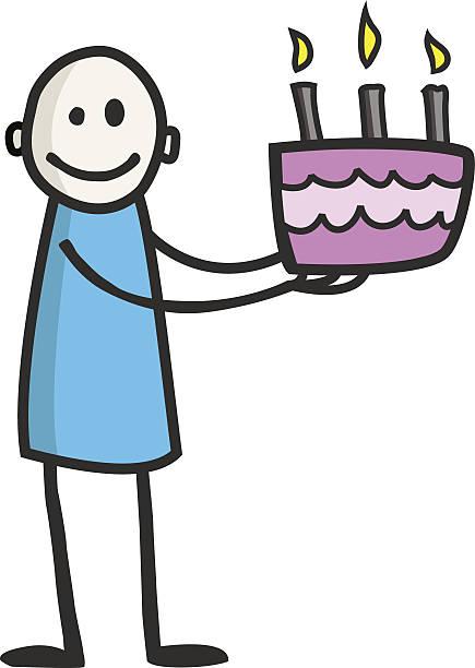 Mignon souriant garçon tenant gâteau Rose avec trois bougies allumées - Illustration vectorielle