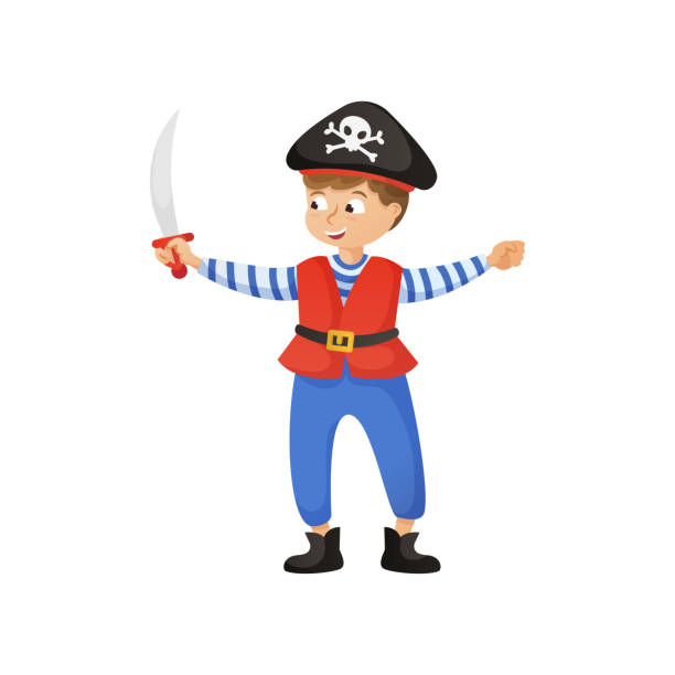 Cute smiling boy in pirate costume with black hat Cute smiling boy in pirate costume with black hat and sword in hand. Flat style. Vector illustration on white background human body part stock illustrations