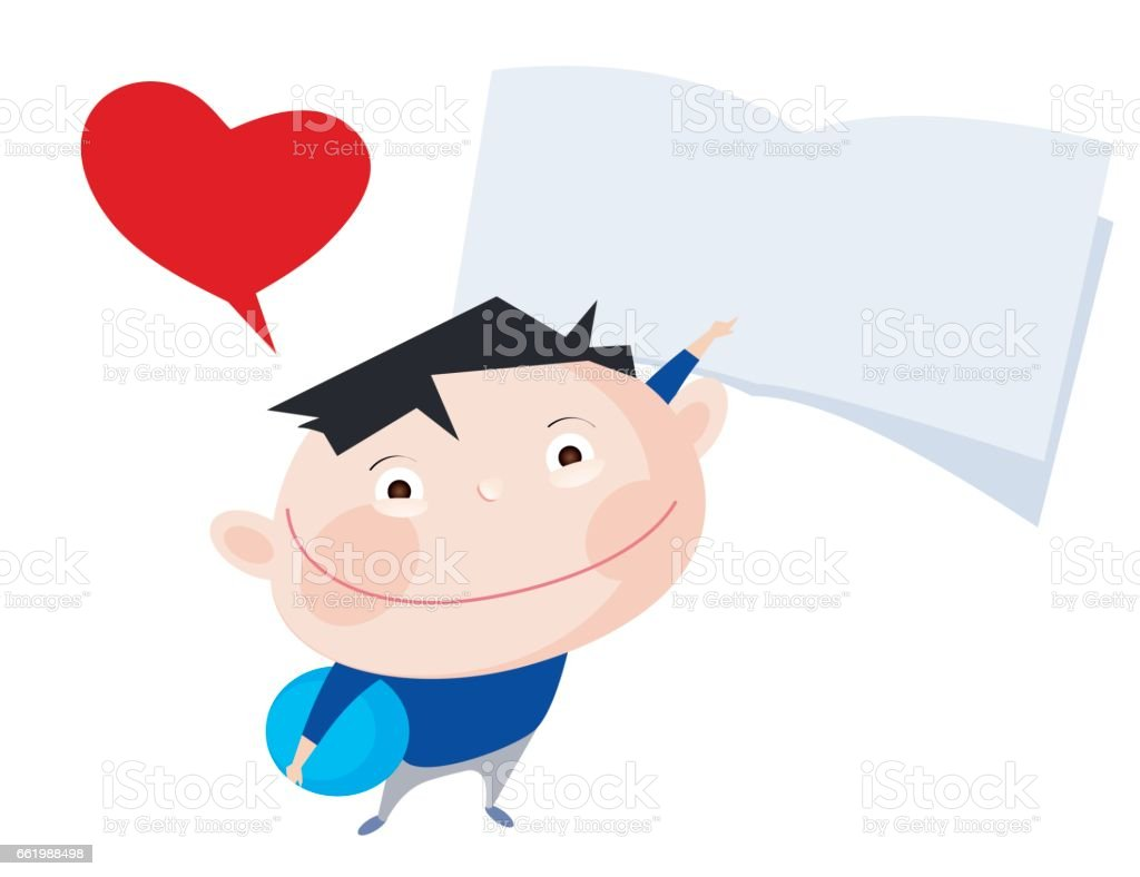 Cute smiling boy with heart bubble pointing with finger at a blank notebook royalty-free cute smiling boy with heart bubble pointing with finger at a blank notebook stock vector art & more images of ball