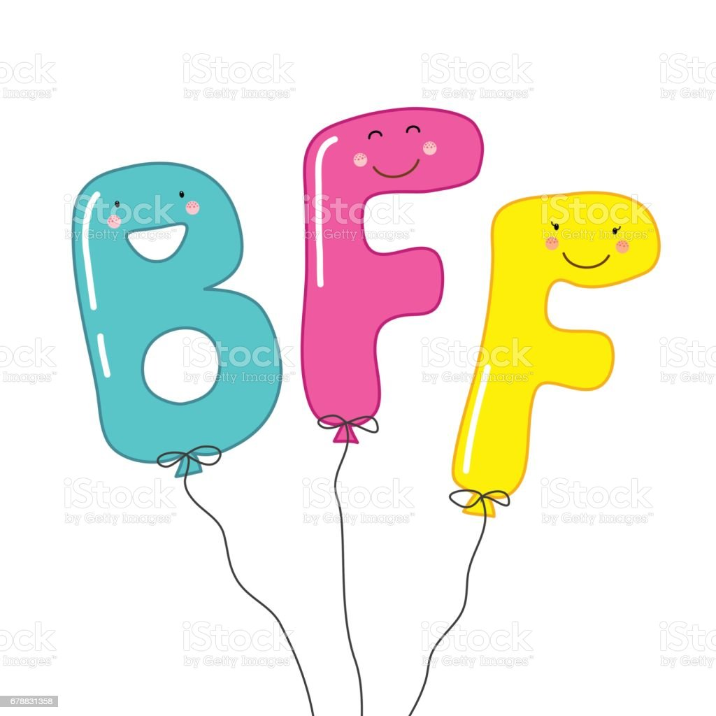 Cute smiling cartoon characters of letters BFF (Best Friends Forever) as party balloons vector art illustration