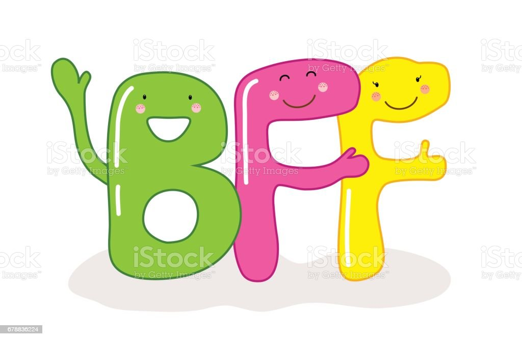 Cute smiling cartoon characters of letters BFF (Best Friends Forever vector art illustration