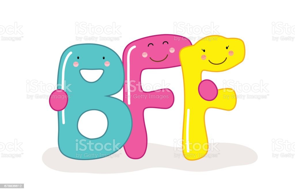 cute smiling cartoon characters of letters bff best friends forever