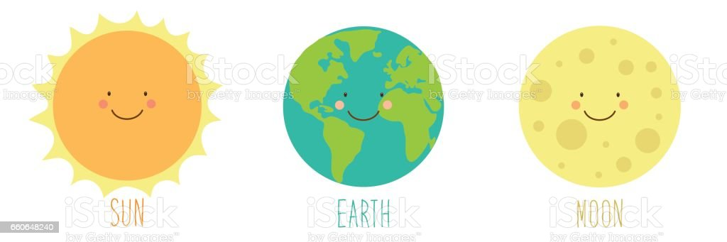 Cute Smiling Cartoon Characters Of Planets Stock Vector ...