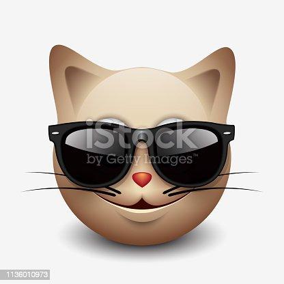 d7640d6156 878146888istock Lindo sonriente gato emoticono vistiendo gafas de sol negro,  Emoji, Smiley-vector