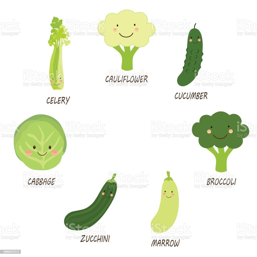 Cute smiling characters of green veggies vector art illustration