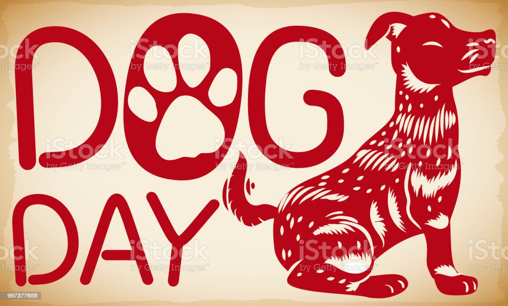 Banner with cute smiling dog in oriental style waiting for Dog Day...