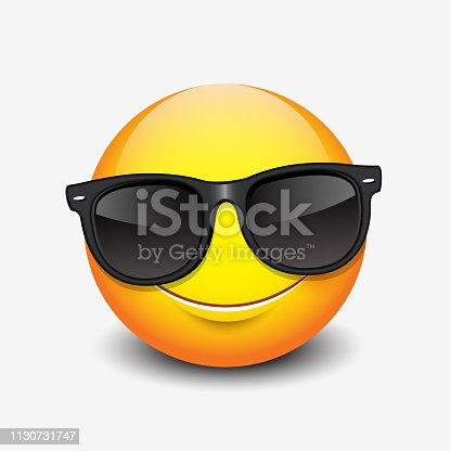 Cute smiling emoticon wearing black sunglasses, emoji, smiley