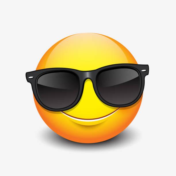 Cute smiling emoticon wearing black sunglasses, emoji, smiley - vector illustration Cute smiling emoticon wearing black sunglasses, emoji, smiley cool attitude stock illustrations