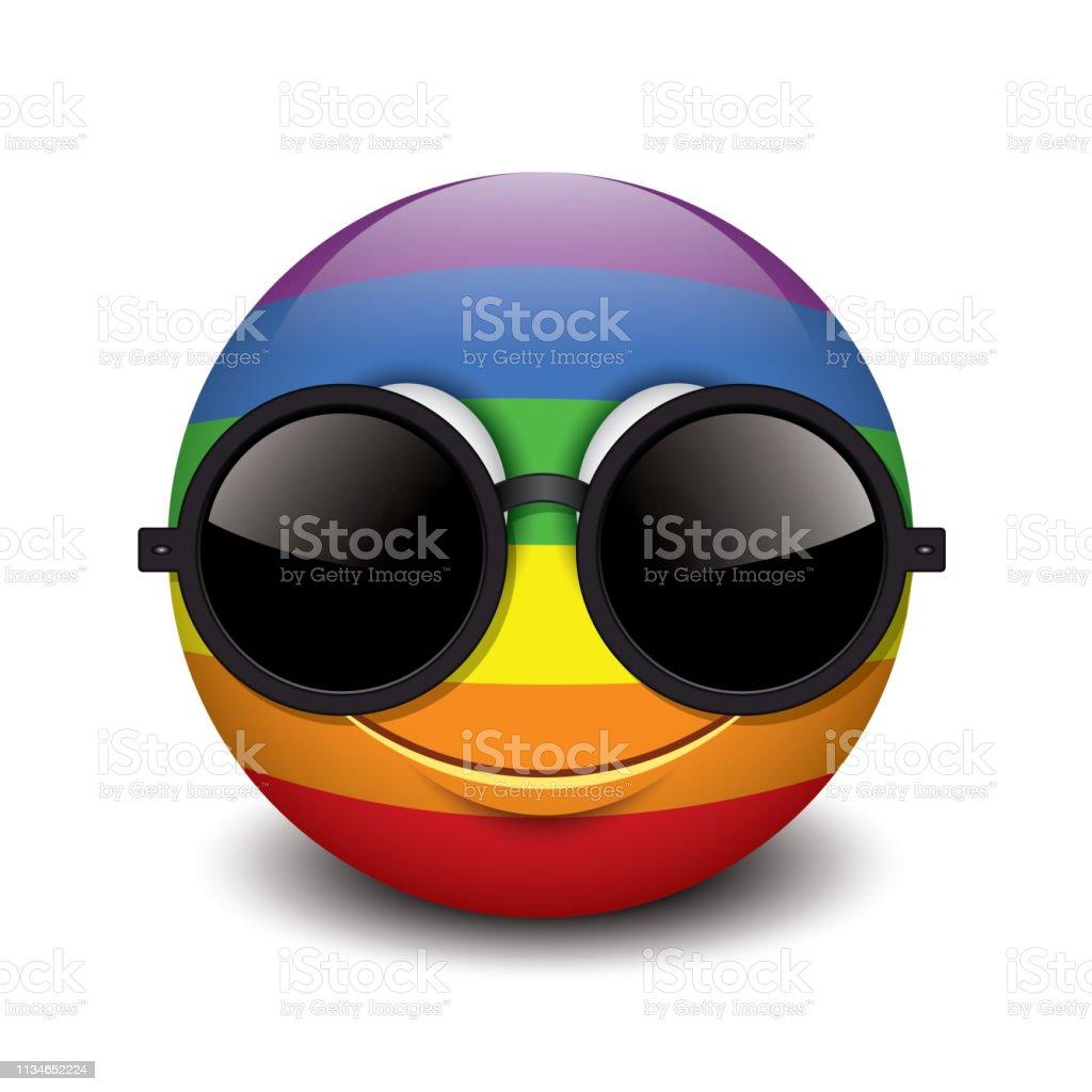 Sonriente De Usando Ilustración Lindo Sol Emoticono Negro Gafas N8mwvnO0