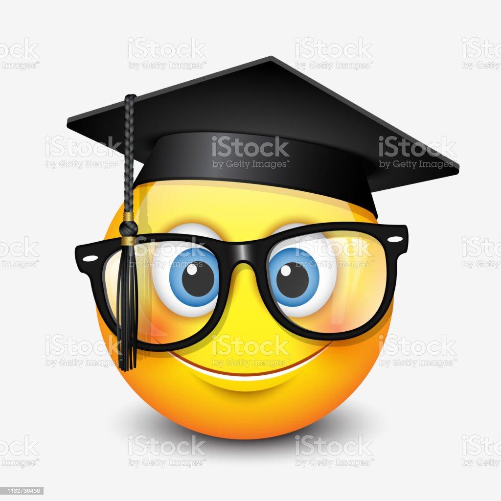 Niedliches lächelndes Emoticon mit Mörtelbrett und Brille, Emoji, Smiley-Vektorabbildung - Lizenzfrei Akademisches Lernen Vektorgrafik