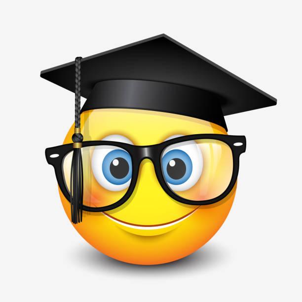 niedliches lächelndes emoticon mit mörtelbrett und brille, emoji, smiley-vektorabbildung - elegante kleidung stock-grafiken, -clipart, -cartoons und -symbole