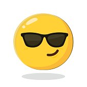 Cute smiling emoticon wearing black sunglasses. Cartoon Isolated vector illustration on white background