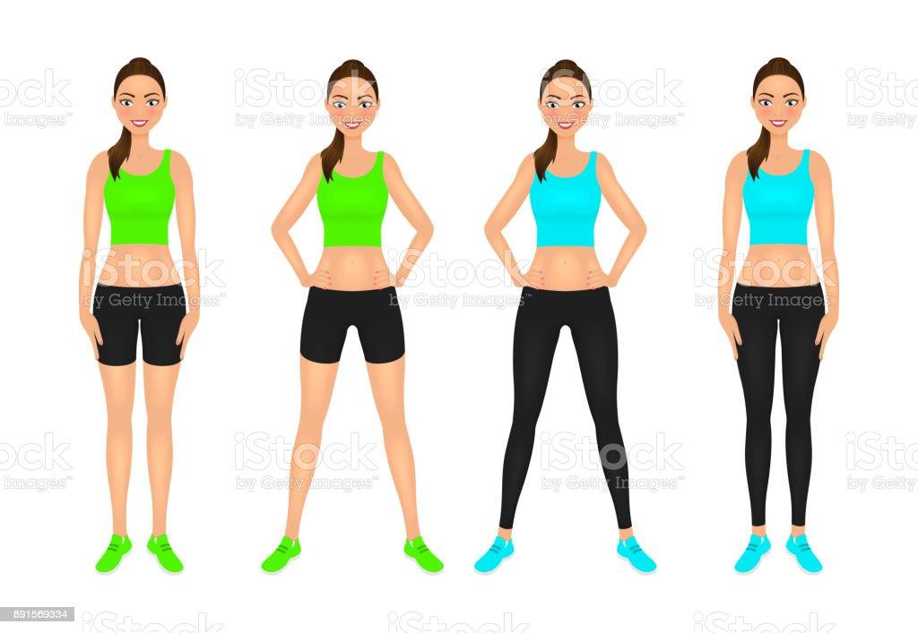 455d446e6fabdc Schattige lachende passen meisje met handen op de heupen. Jonge vrouw in  sportkleding. Tekens