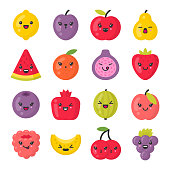 Cute smiling fruits. Kawaii fruit characters. Isolated colorful vector icon set