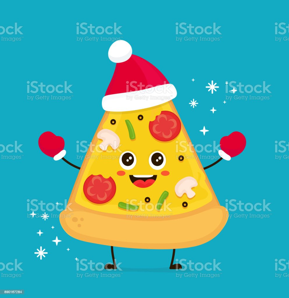 Cute smiling funny cute pizza slice - arte vettoriale royalty-free di Arte