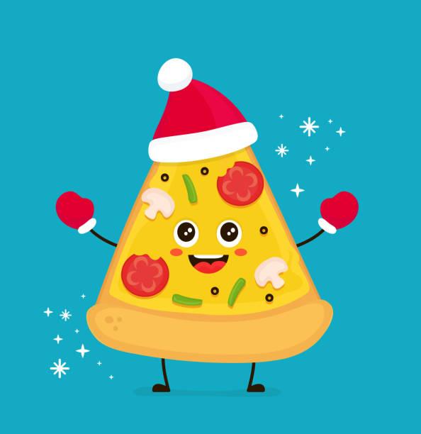 illustrazioni stock, clip art, cartoni animati e icone di tendenza di cute smiling funny cute pizza slice - pranzo di natale