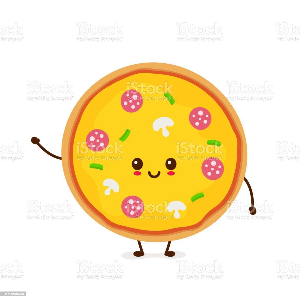 かわいい笑顔面白いかわいいピザ イラストレーションのベクターアート