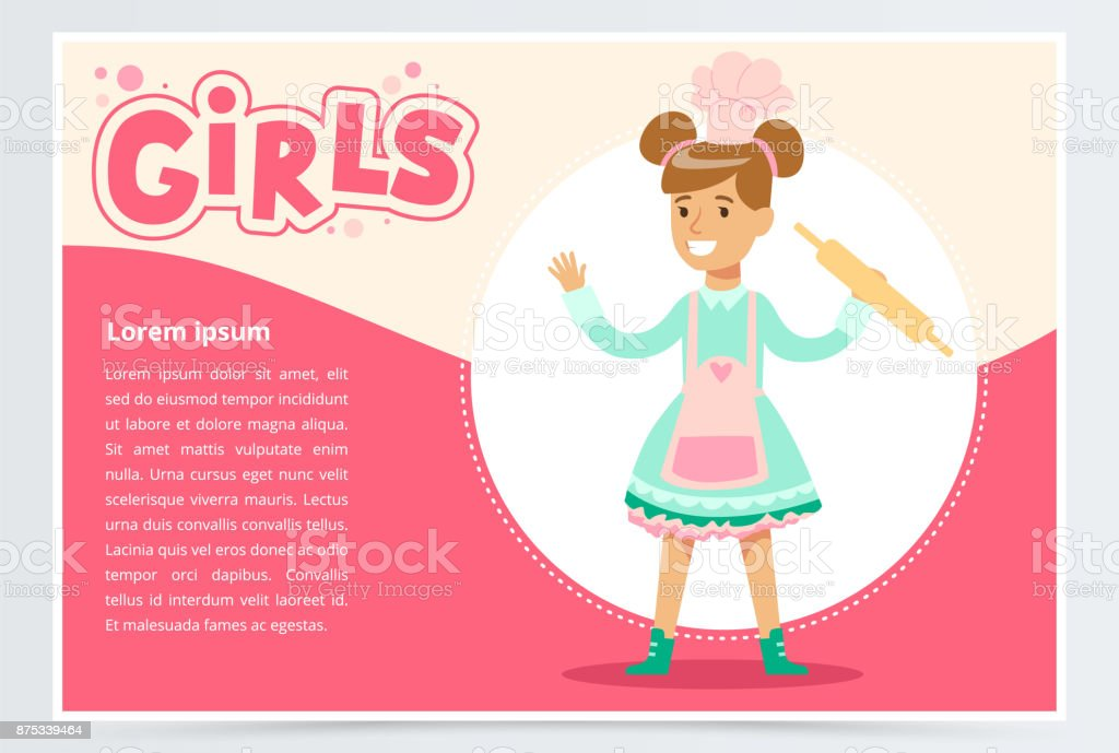 Cute smiling girl chef with rolling pin, girls banner flat vector element for website or mobile app vector art illustration