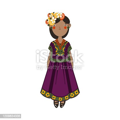 Cute smiling girl in national colorful peru clothes with flowers. Cartoon style. Vector illustration on white background