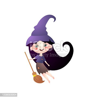 istock Cute smiling girl in witch costume with hat and broom 1208303004