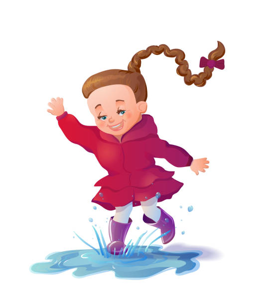 cute smiling girl jumping in puddle. funny girl cartoon characte - kids playing in rain stock illustrations, clip art, cartoons, & icons