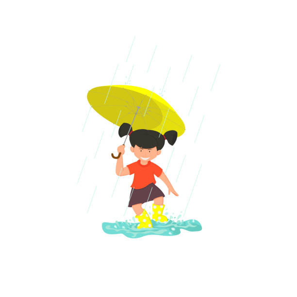 cute smiling girl jumping in puddle. - kids playing in rain stock illustrations, clip art, cartoons, & icons