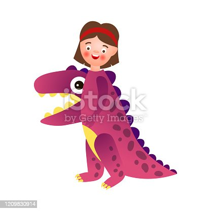 Cute smiling girl wear dino violet color costume, school party. Cartoon style. Vector illustration on white background