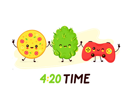 Cute smiling happy pizza,weed bud and joystick