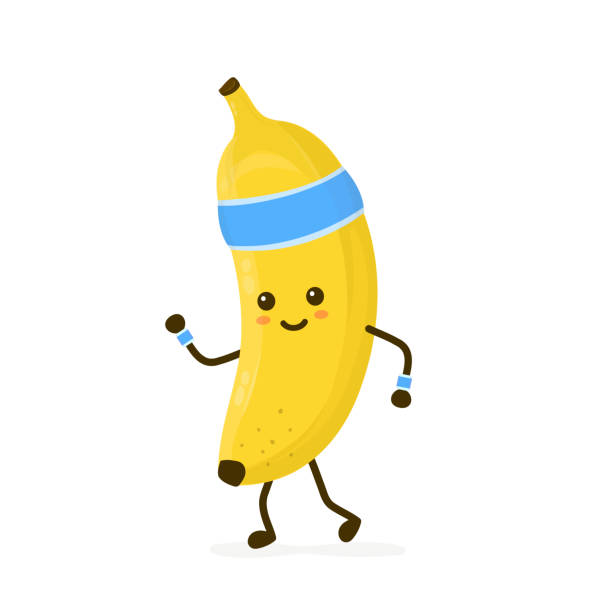 Cute smiling happy strong banana running Cute smiling happy strong banana running.Vector flat cartoon character illustration icon. Isolated on white background.Banana,gym lifestyle,sport run,health,fitness nutrition concept exercise machine stock illustrations