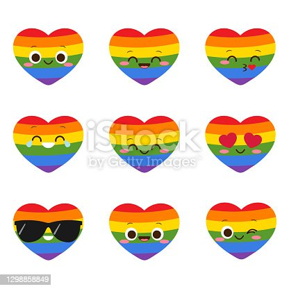 Cute smiling LGBT heart character