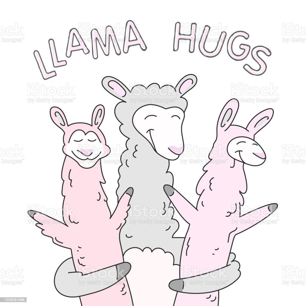 ラマ家族イラストの笑顔かわいい Tシャツのベクターアート素材や画像を