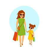 cute smiling mother and daughter, woman and girl walking holding hands  shopping together isolated vector illustration scene