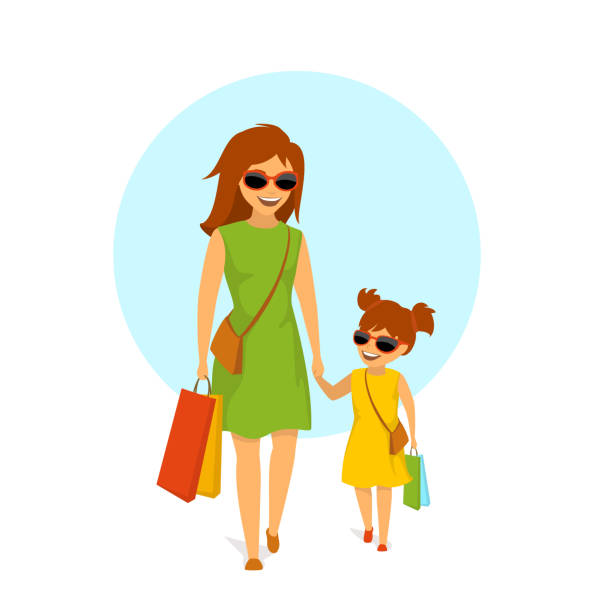 cute smiling mother and daughter, woman and girl walking holding hands  shopping together isolated vector illustration scene cute smiling mother and daughter, woman and girl walking holding hands  shopping together isolated vector illustration scene daughter stock illustrations