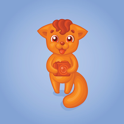 Cute smiling orange fox photographer character.