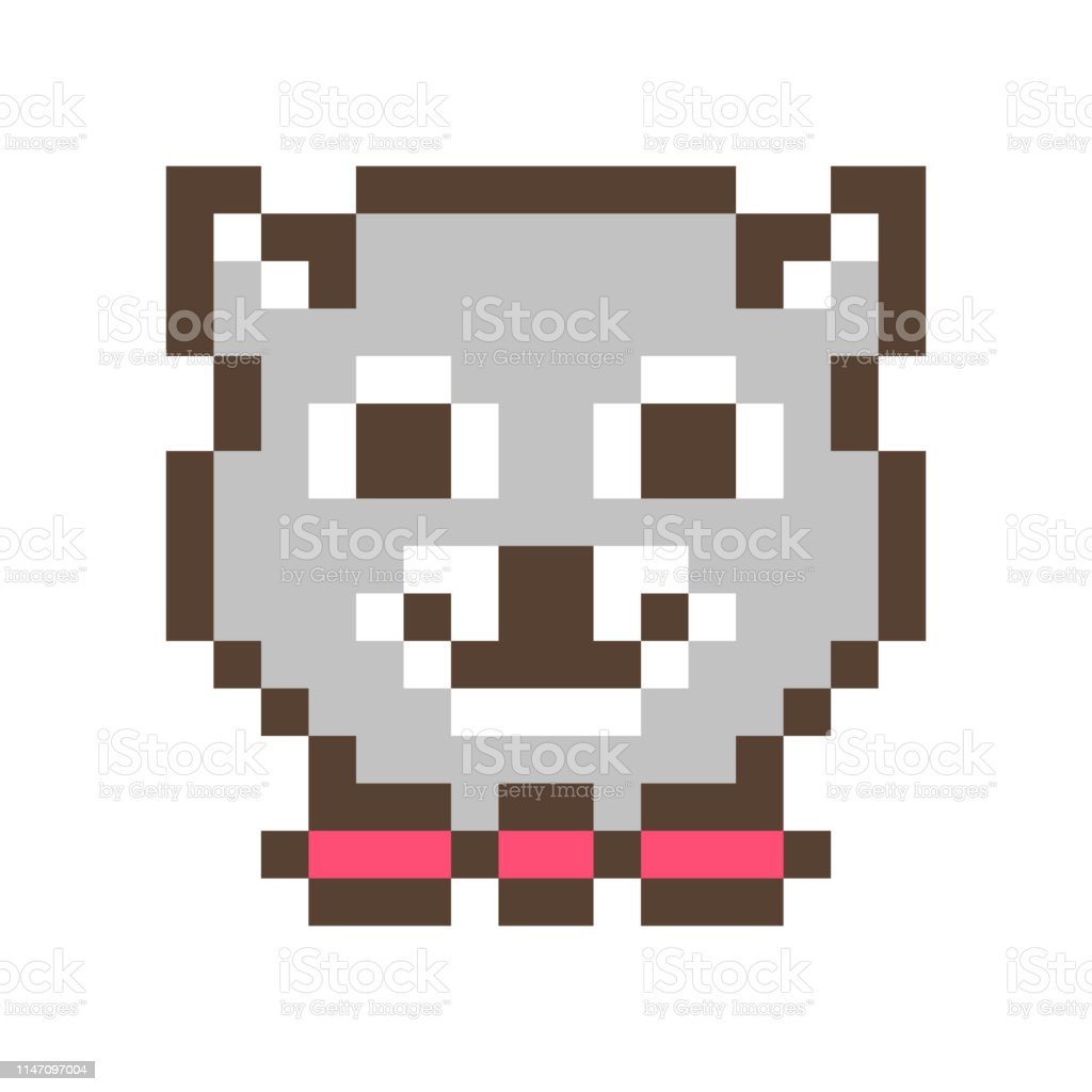 Cute Smiling Raccoon Muzzle16x16 Pixel Art Icon Isolated On